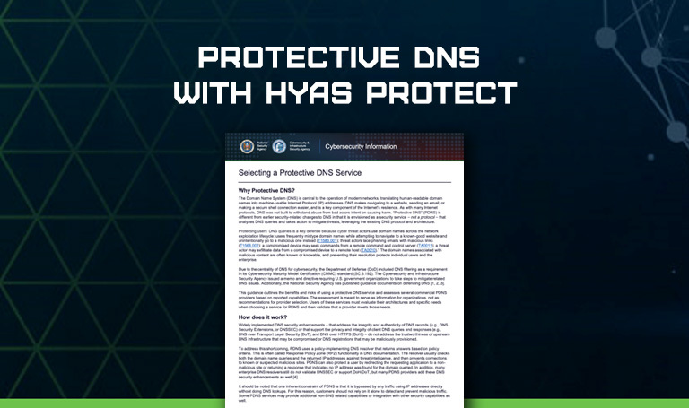 Protective DNS with HYAS Protect: CISA/NSA Guidance
